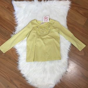NWT Hanna Andersson yellow & gray stripe top, 5-6X